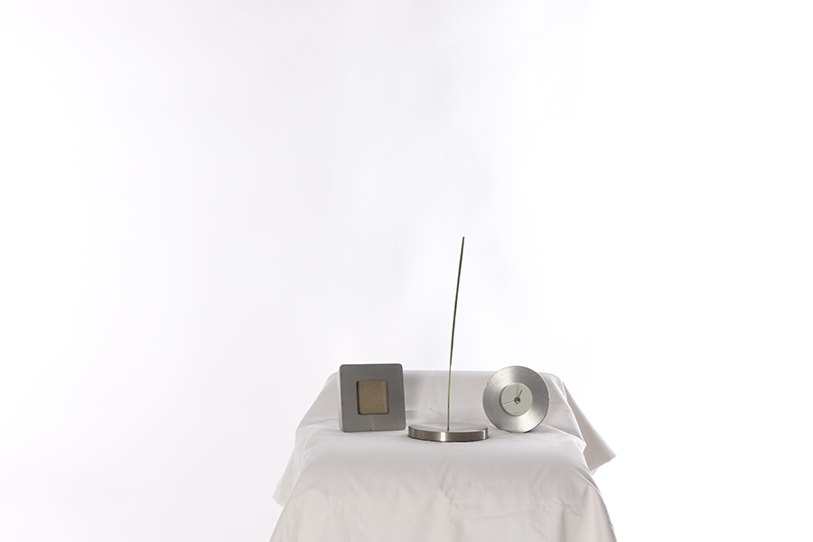 Silver Clock, Frame and Holder Image