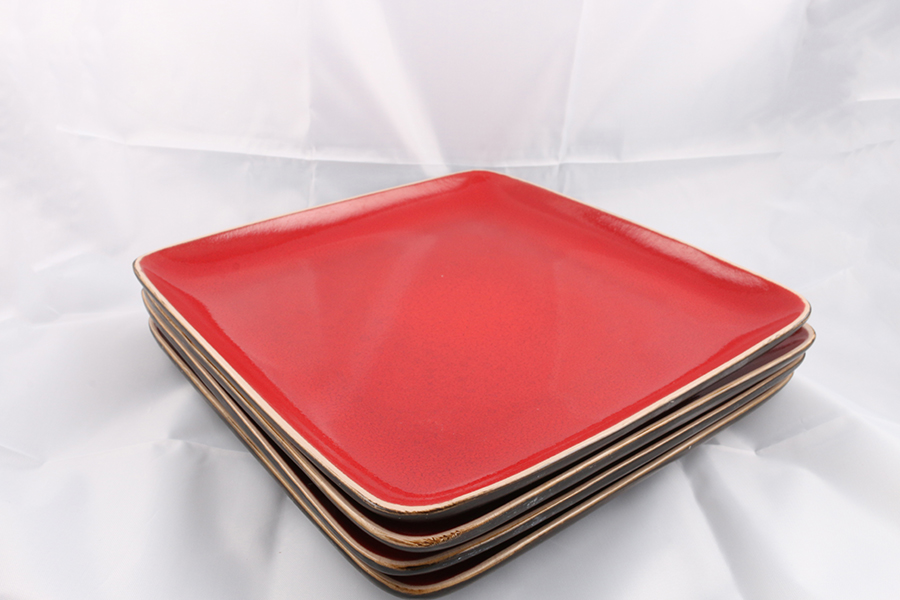 Large Red Square Plates Image