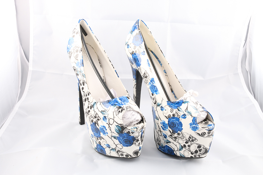 Blue Roses Skulls Heels Image