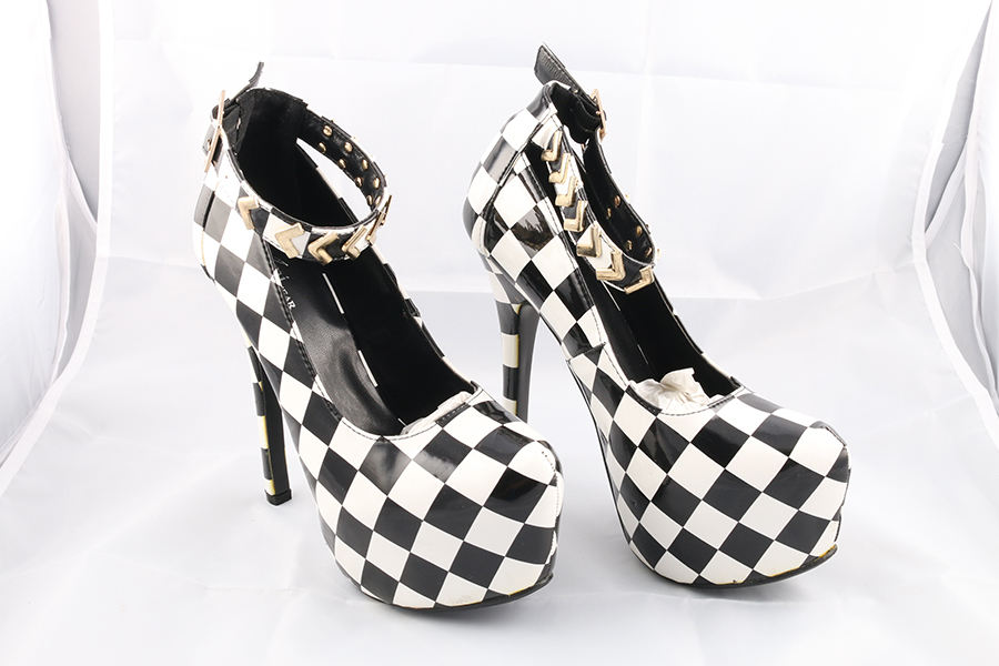 Black White Checker Heels Image