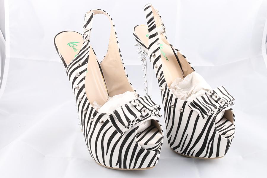 Zebra Spike Bow Heels Image