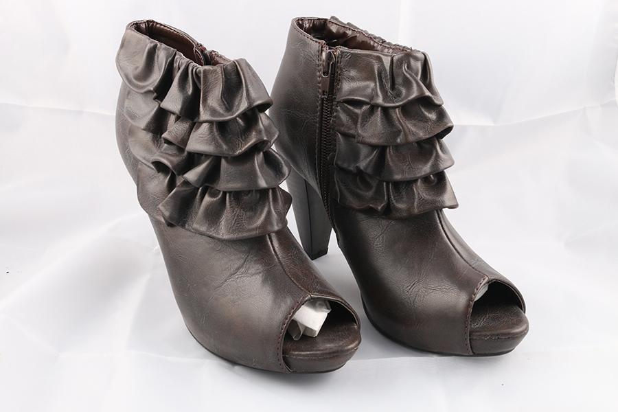 Brown Ruffle Ankle Heels Image