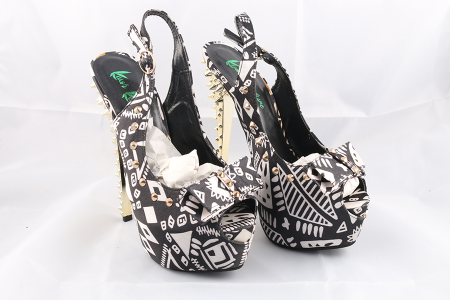 Gold Spikes White Black Heels Image