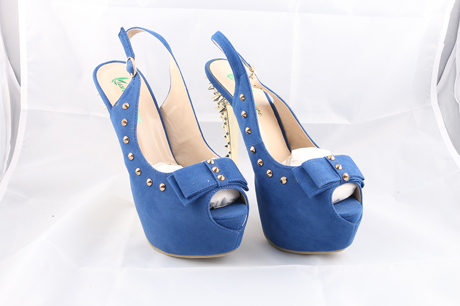 Gold Spikes Blue Heels Image