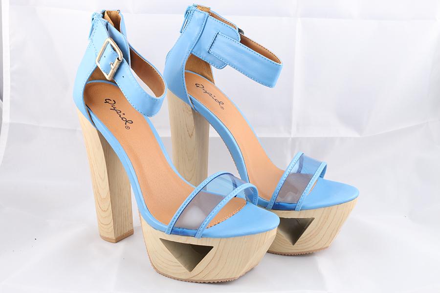Light Blue Wood Heels Image
