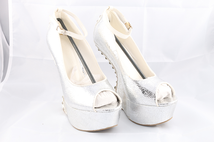 White Silver Spike Gravity Heels Image