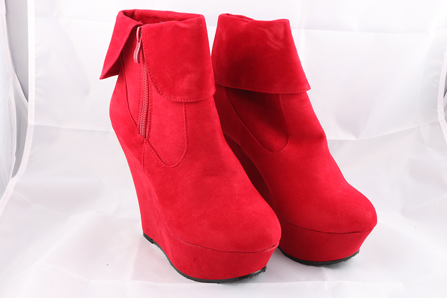 Red Suede Ankle Boots Image