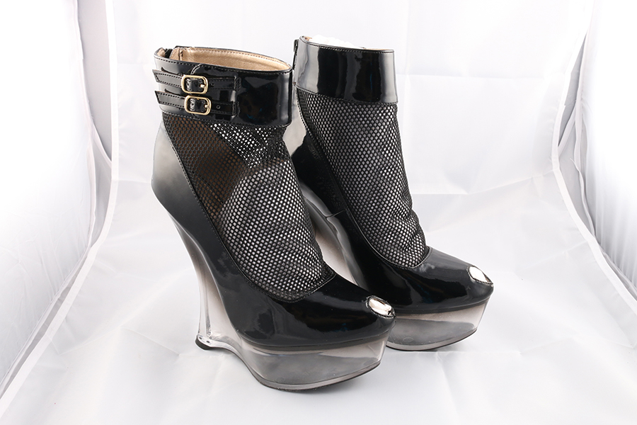 Fishnet Ankle Clear Gravity Heels Image