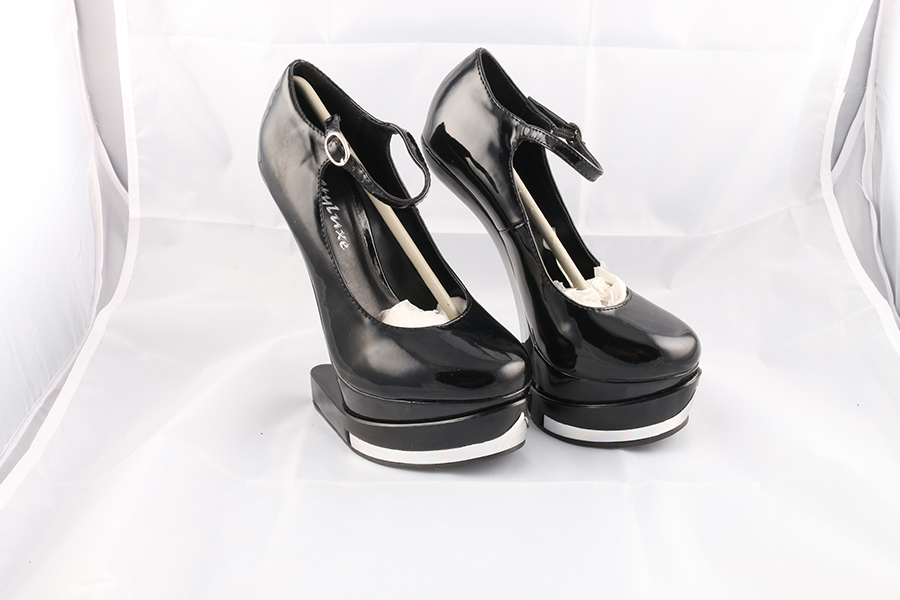 Black Silver Patent Gravity Heels Image