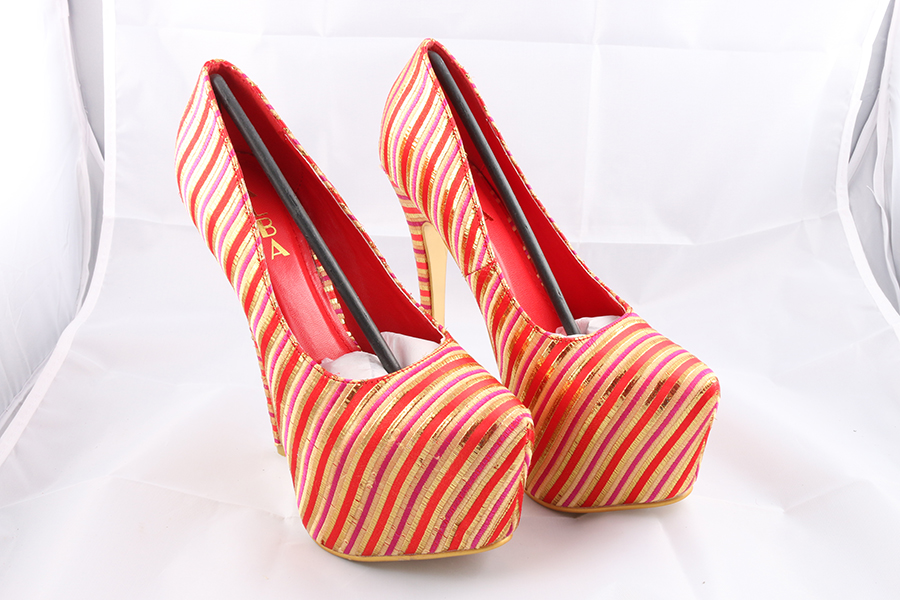 Red Pink Gold Striped Heels Image