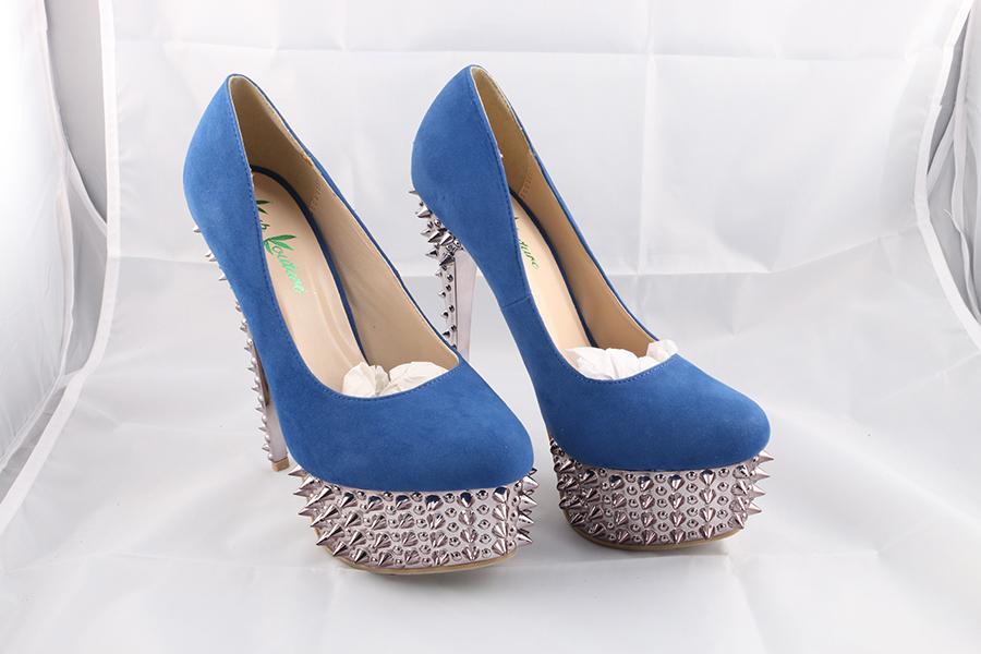 Blue Spike Heels Image