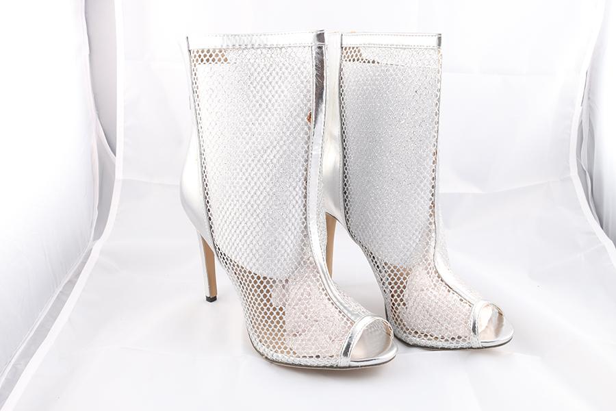 Silver Mesh Shin Heels Image