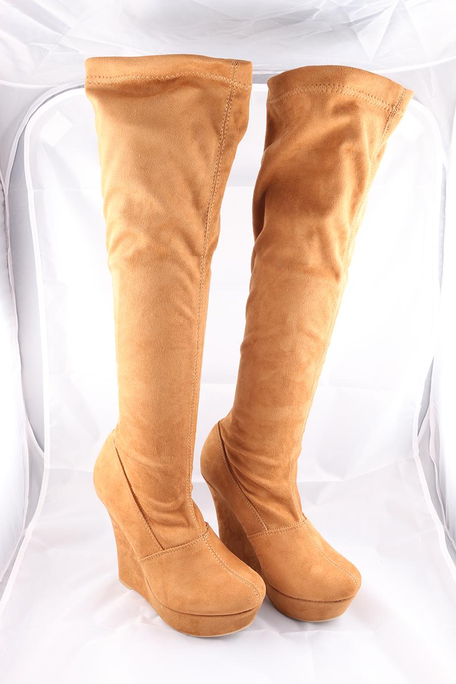 Tan Knee High Velvet Boots Image