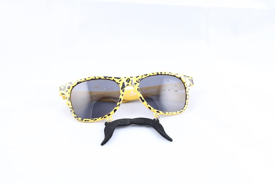 Leopard Frame Black Lens Mustache Glasses Image