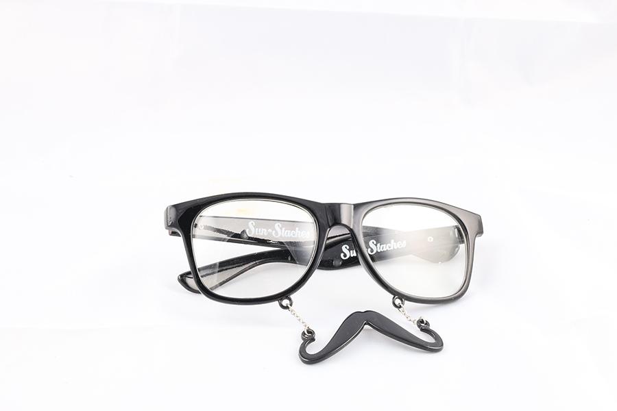 Black Frame Clear Lens Mustache Glasses Image