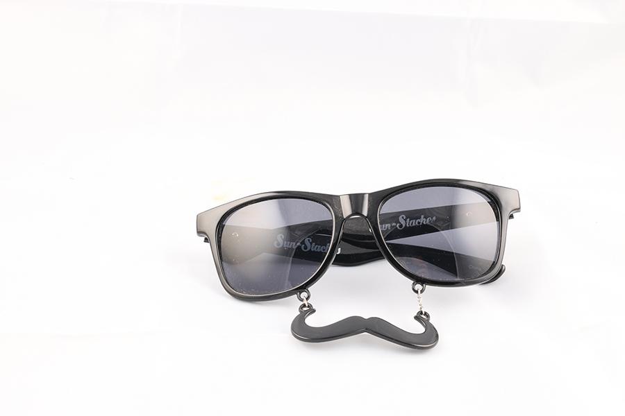 Black Frame Black Lens Mustache Glasses Image