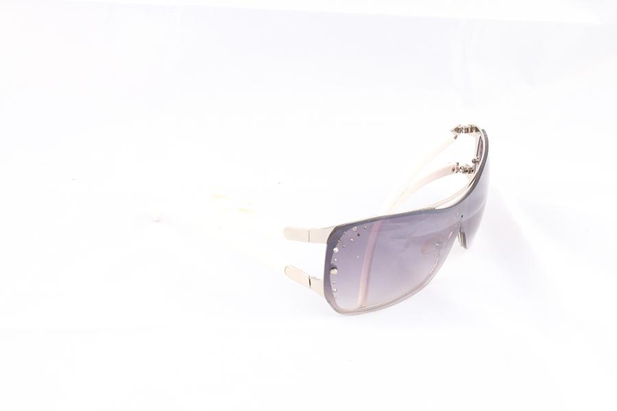 White Arms Black Lens Glasses Image