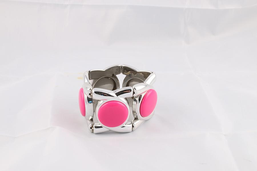Pink Circle Silver Bracelet Image