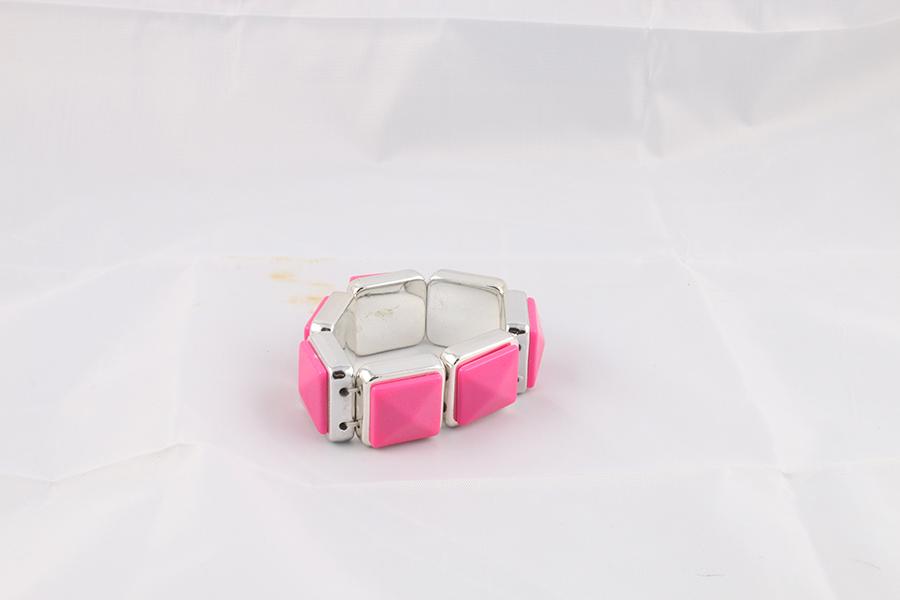 Pink Square Silver Bracelet Image