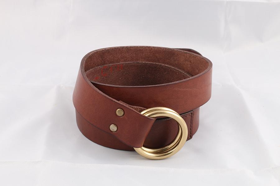 Unisex Brown Leather Belt Image