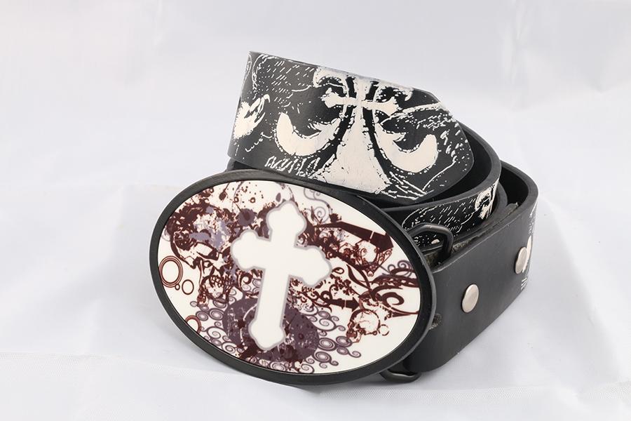 Unisex Black White Printed Belt Image