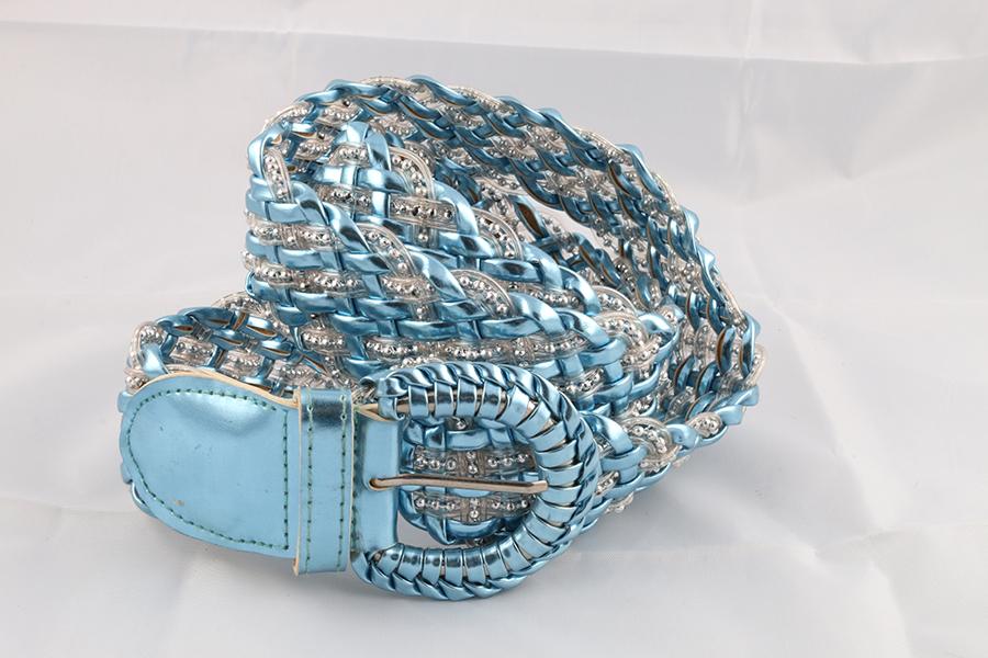 Ladies Shiny Blue Belt Image
