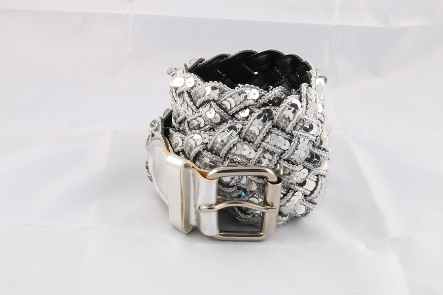 Ladies Silver Sequence Belt Image