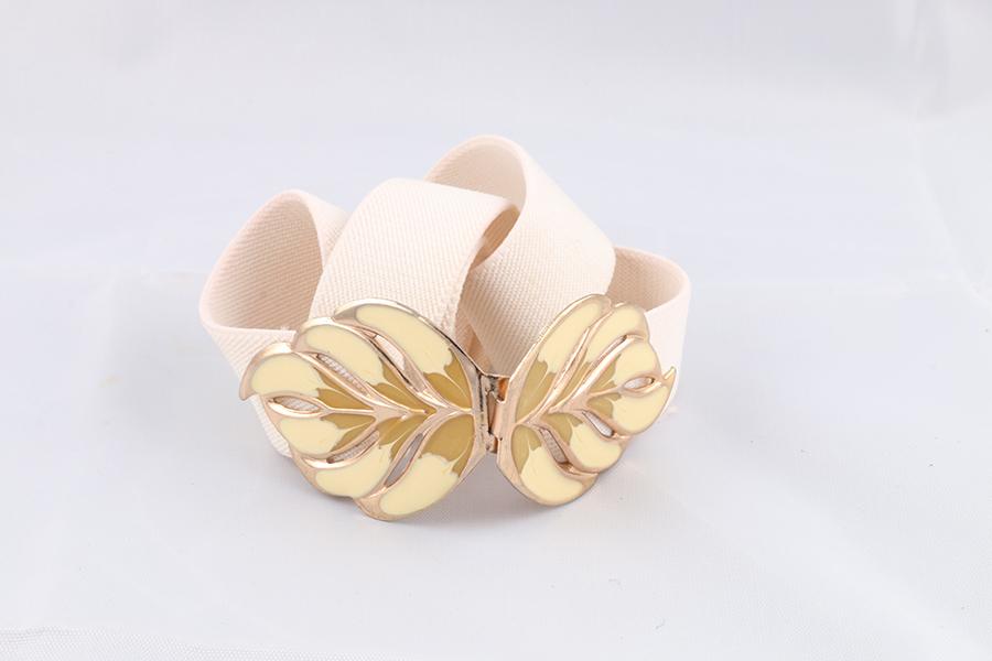 Ladies Off-White Leaf Belt Image