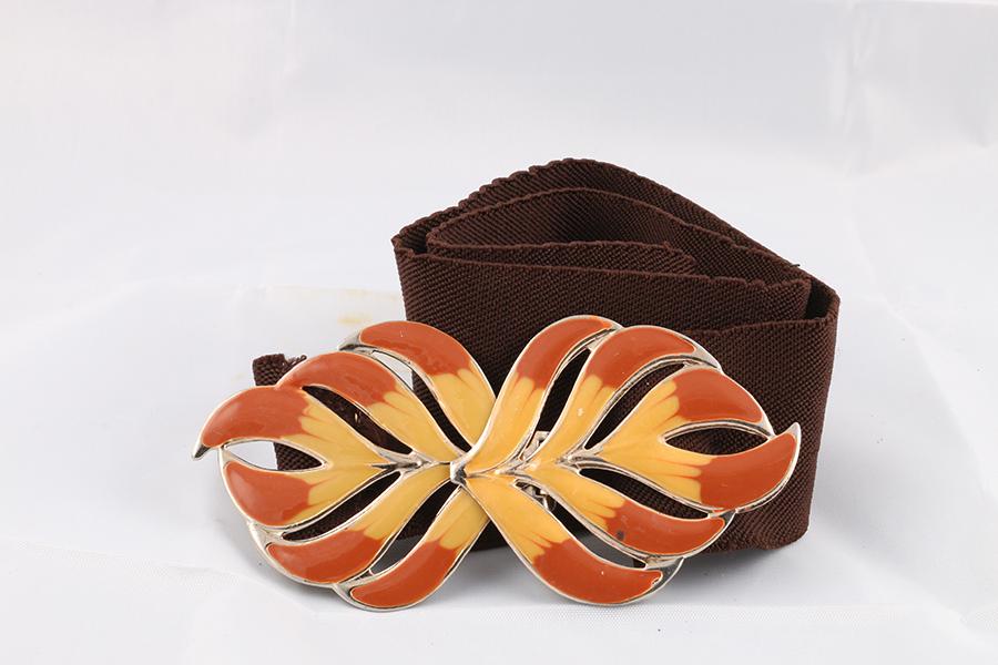 Ladies Brown Leaf Belt Image