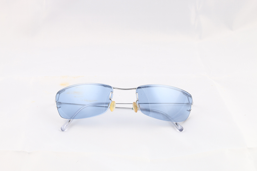 Blue Lens Wire Frame Glasses Image