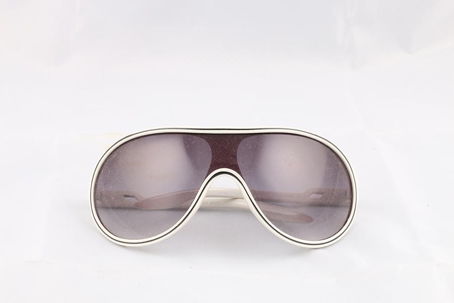 White Frame Dark Lens Glasses Image