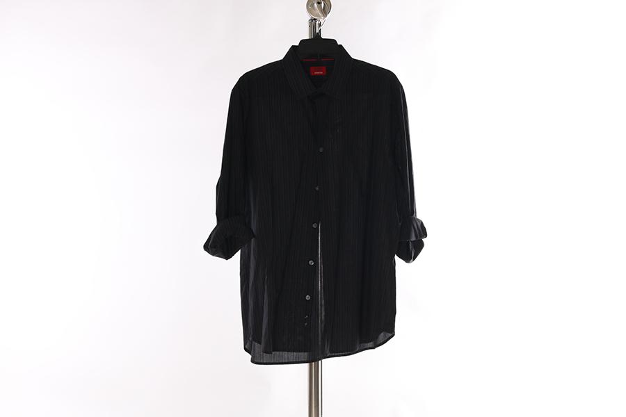 Black Gray Stripes Alfani Shirt Image