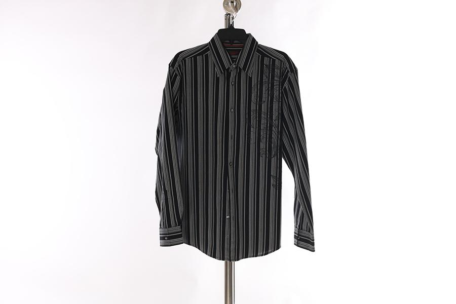 Black Gray Striped Print Contigo Shirt Image