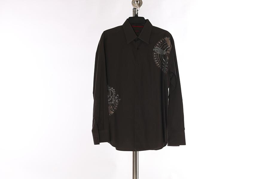 Olive Gray Embroidered Contigo Shirt Image