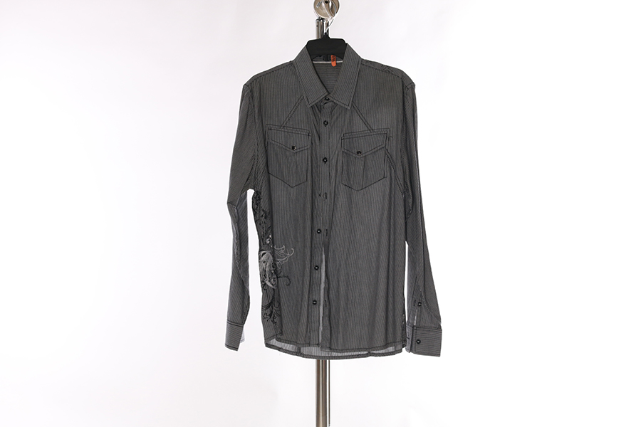 Gray White Stripes Embroidered AT Collins Shirt Image