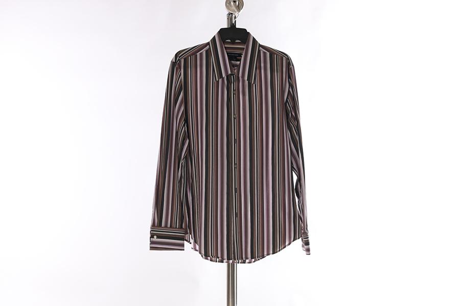 Gray Multi-Striped Calvin Klein Shirt Image
