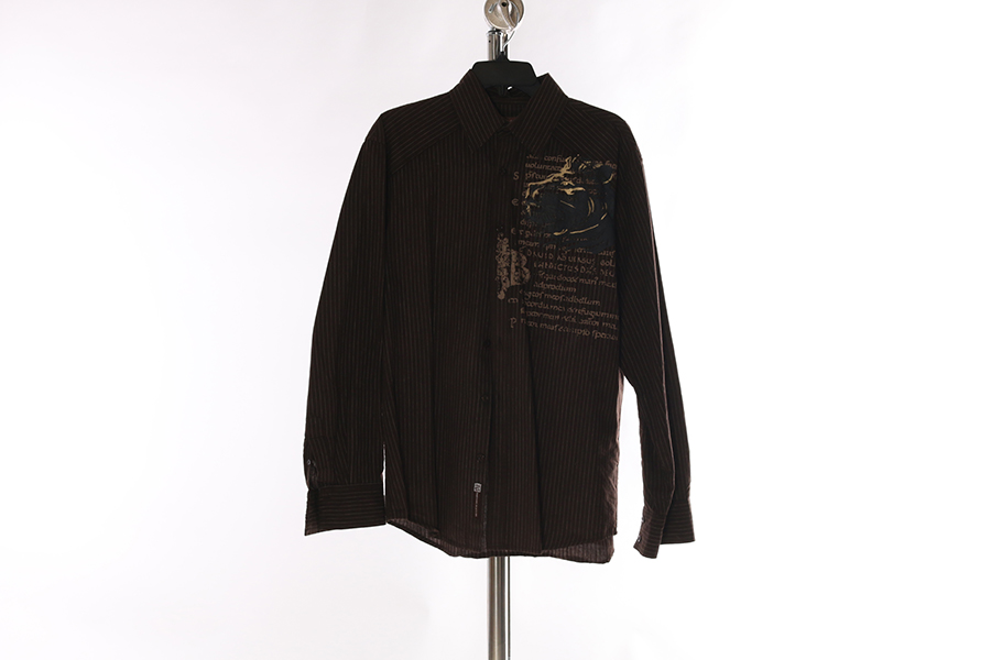 Brown Striped Printed Roar Shirt Image