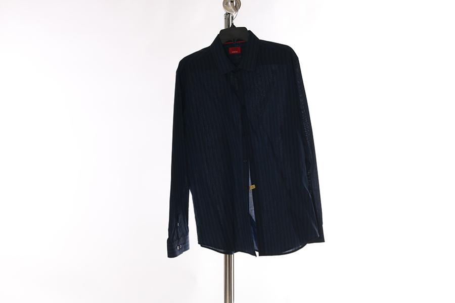Blue Black Striped Alfani Shirt Image