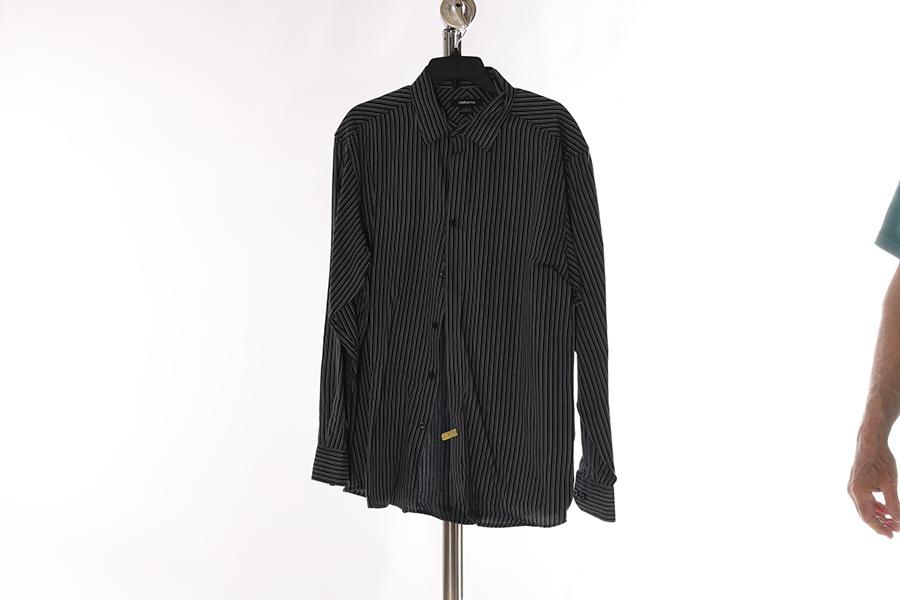 Black Gray Multi Striped Claiborne Shirt Image