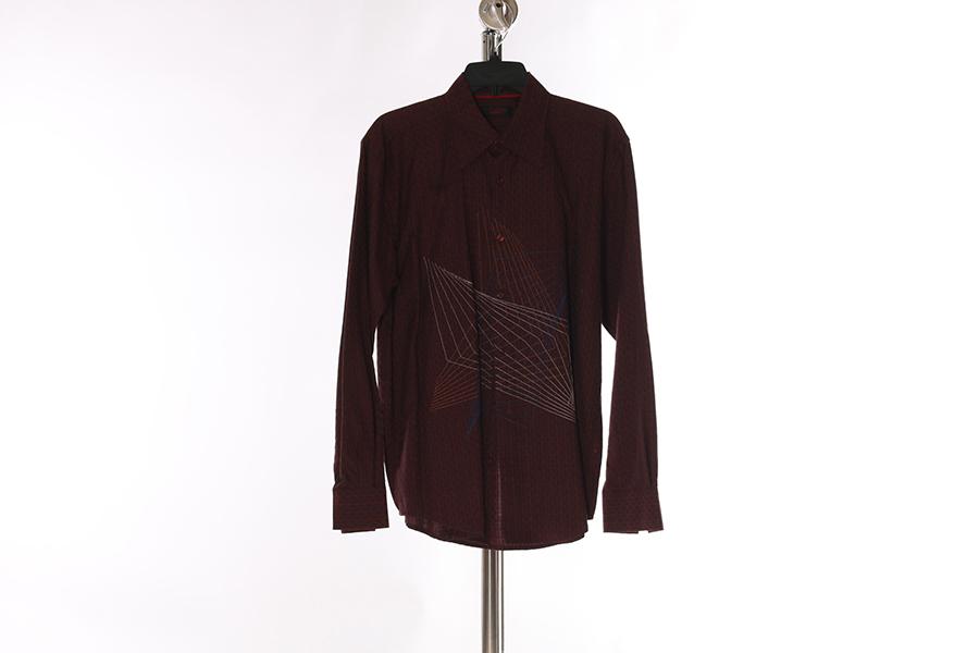 Burgundy Pattern Embroidered Contigo Shirt Image