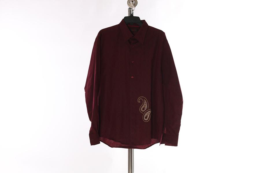 Burgundy Embroidered Contigo Shirt Image