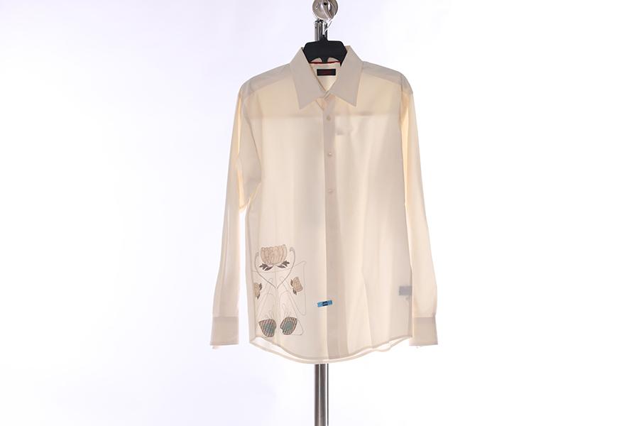 Beige Embroidered Contigo Shirt Image