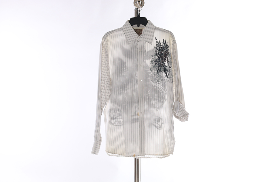 White Striped Embroidered Roar Shirt Image
