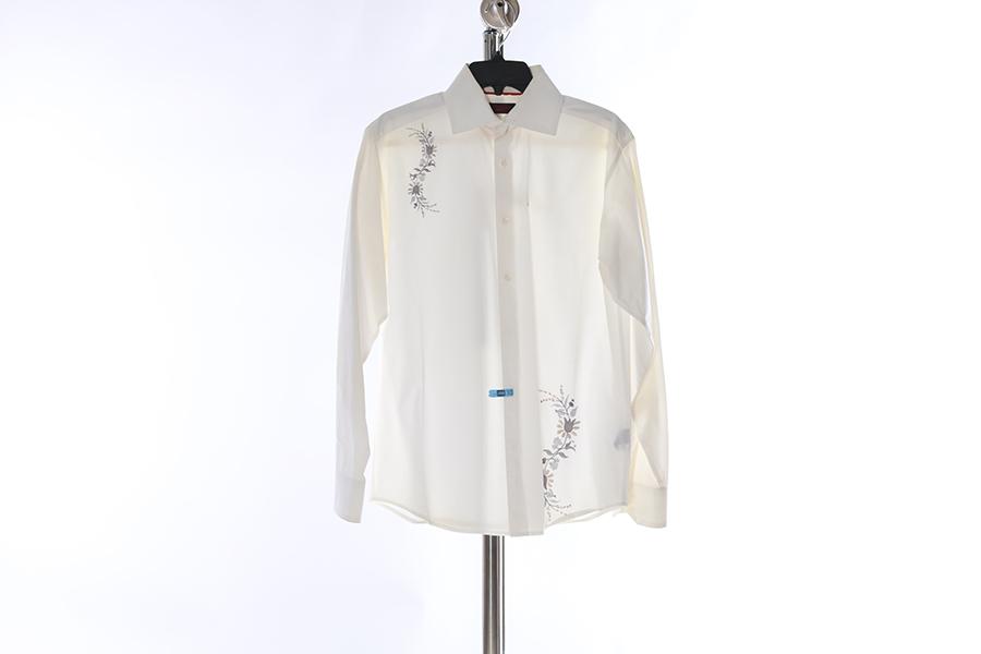 White Floral Embroidered Contigo Shirt Image