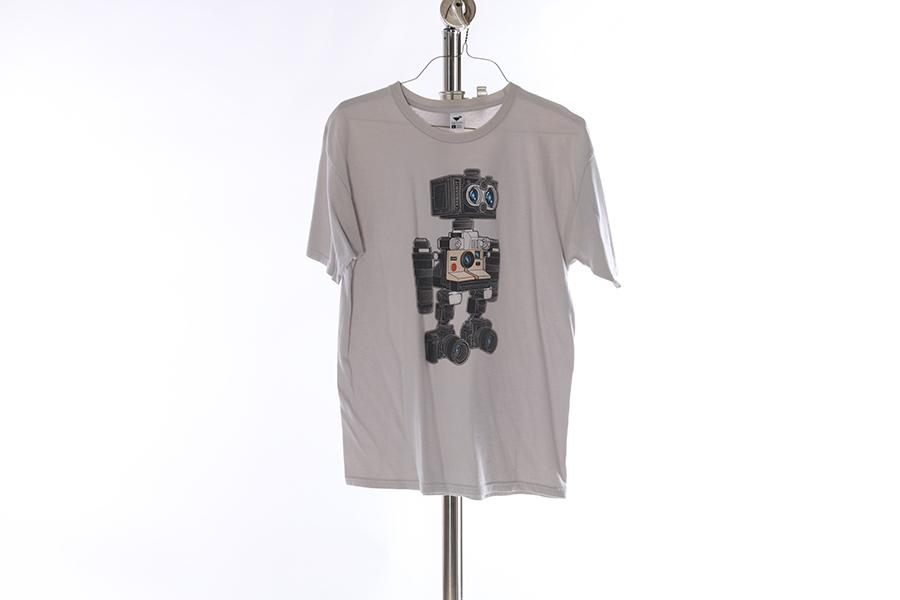 Light Gray Camera Robot T-Shirt Image