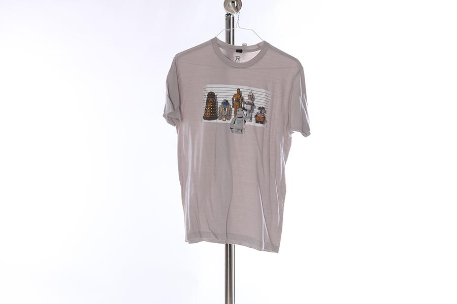 Light Gray Robot Lineup T-Shirt Image