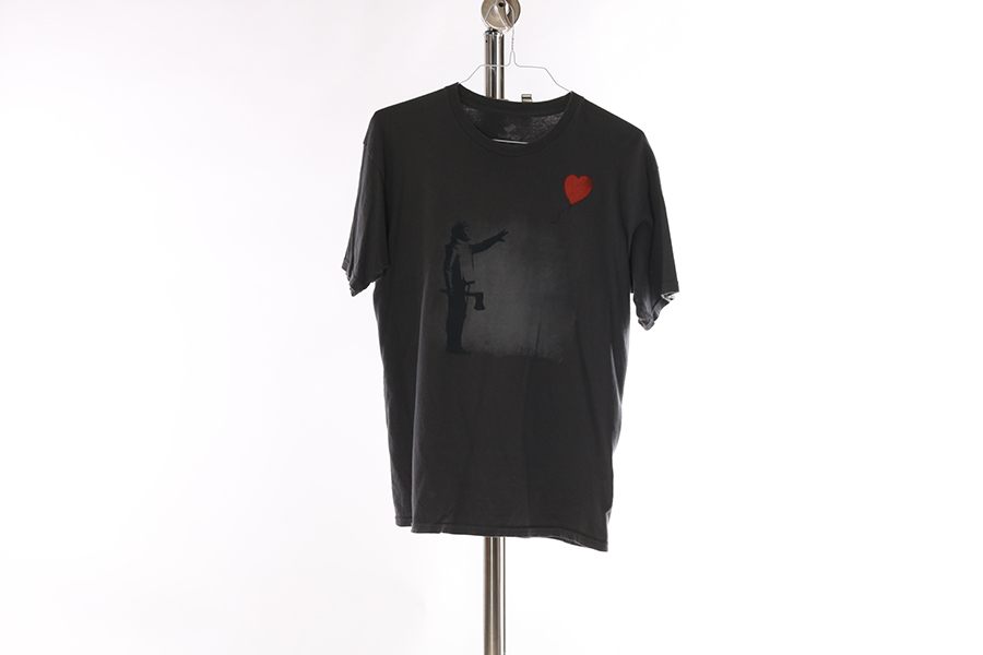 Gray Banksy Tin Man T-Shirt Image