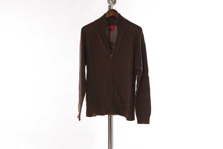 Brown Mossimo Zip Up Sweater Image
