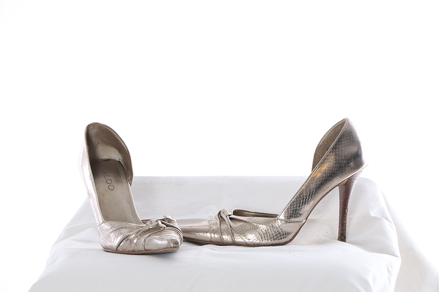 Silver Snakeskin Heels Image