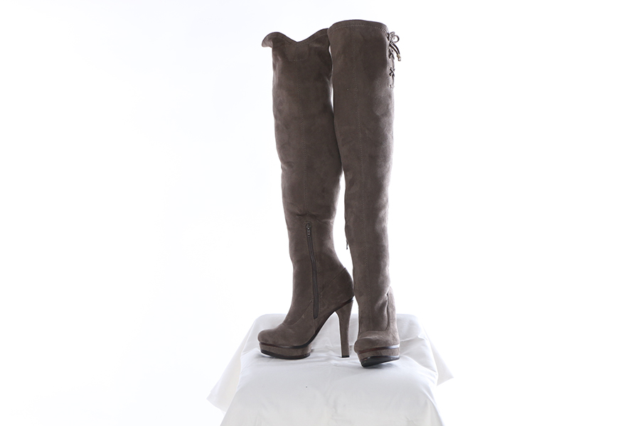 Gray Knee High Suede Boots Image